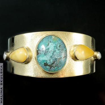 Złocona srebrna bransleta z naturalnym turkusem, bursztynami i perłami