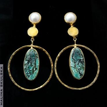 Srebrne złocone kolczyki z naturalnymi turkusami, bursztynami i perłami