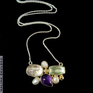 Ametysty, kwarc rutylowy i perły - naszyjnik