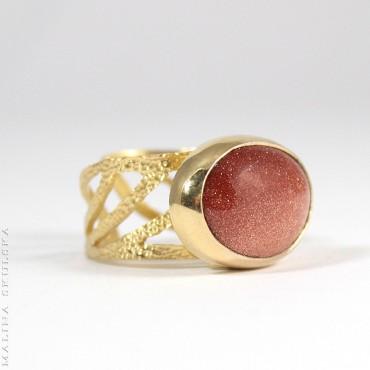 Regulowany pierścionek z piaskiem pustyni