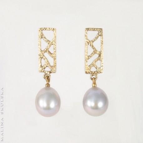 Ażurowe sztyfty ze srebrzystymi perłami