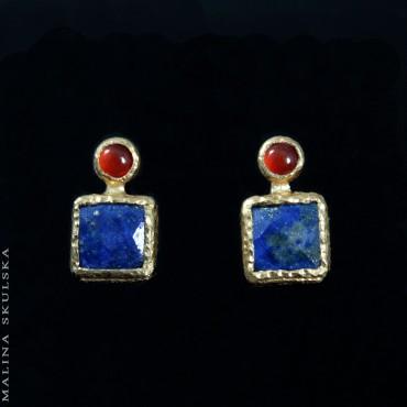 Sztyfty z karneolami i lapis lazuli