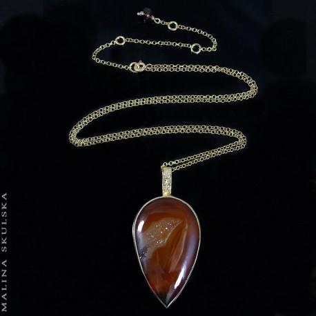 Pozłacany srebrny naszyjnik z agatem