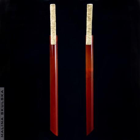 Długie pozłacane kolczyki z karneolami