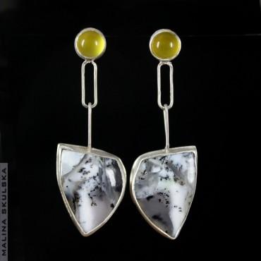Kolczyki z opalami dendrytowymi i żółtymi agatami