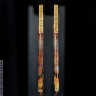 Długie pozłacane kolczyki z jaspisem