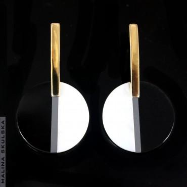 Pozłacane kolczyki z okazami labradorytów