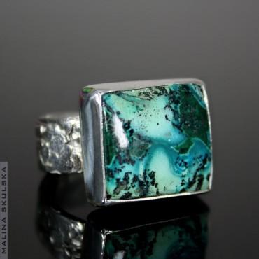 Chryzokola z malachitem - pierścionek