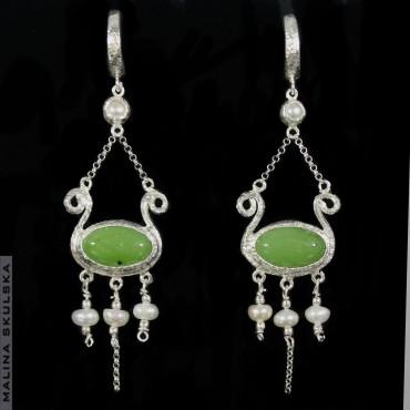 Kandelabrowe kolczyki z jadeitem i perłami