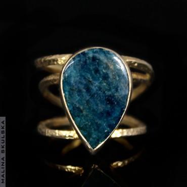 Pozłacany pierścionek z apatytem
